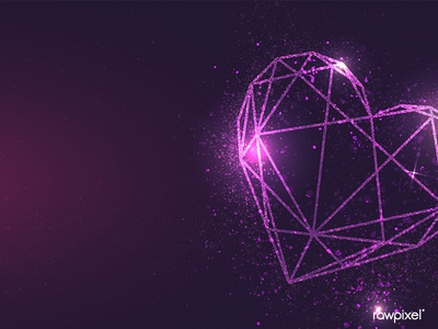 Shimmering purple geometric heart vector