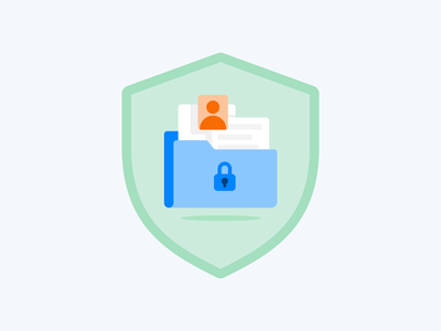 FIle Safety branding app website web guard safety shield lock files folder safe vector flat illustration
