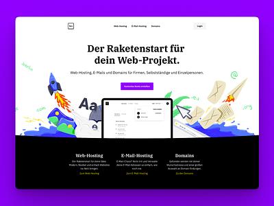 Servivum Landingpage illustrator minimal ui branding website flat web domain handdrawn header hosting email rocket illustration