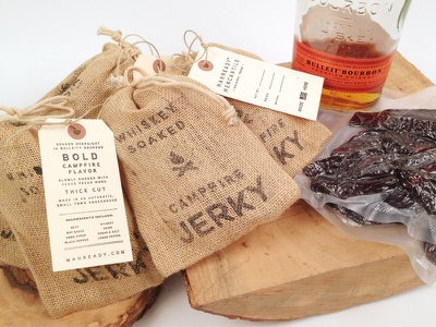 Campfire Jerky branding packaging manready burlap stamp hangtag beef jerky whiskey houston