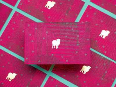 Black Sheep business cards magenta illustration branding grunge grey pink sheep dots pattern business card stationery