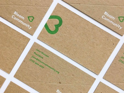 Bloom cards slant minimal stationery business card white kraft green 2 color letterpress