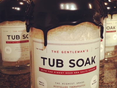 Tub Soak typography packaging red cream wax bottle bath vintage minimal