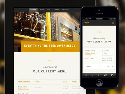 Premium Draught website craft growler responsive web design minimal beer typography menu always creative