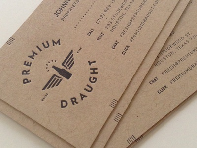 Premium Draught BCs print business cards french paper craft paper letterpress minimal vintage beer craft beer growler always creative