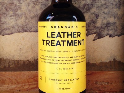 Grandad's Leather Treatment typography packaging yellow black bottle leather vintage minimal