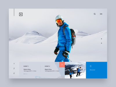 Skiing event landing page