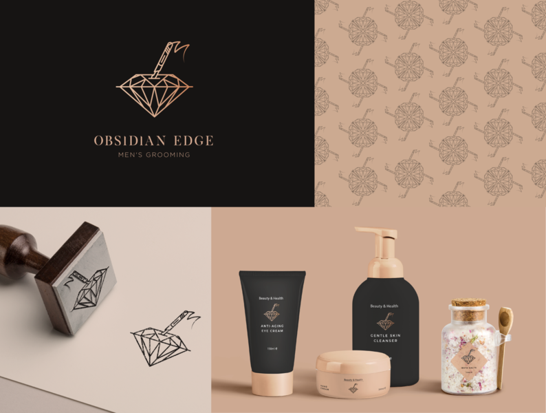 Logo Design - Obsidian Edge mockup design photoshop illustrator icon branding packaging symbol design pattern salon logo cosmetics stamp diamond logo brand identity logodesign identitydesign identity