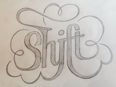 Shift hipster t-shirt logo (WIP) handlettering logo sketch design lettering typography ligatures