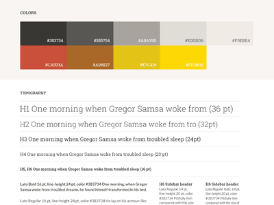 Colours and typography typography roboto slab color scheme lato style guide