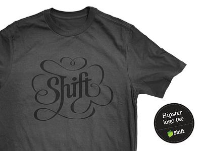 Hipster tee mockup logo hipster lettering ligature t-shirt