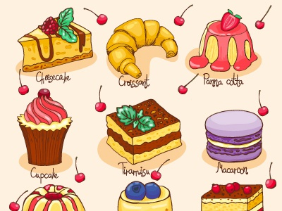 Sweets cartoon sweet cafe menu food illustration biscuit croissant cheesecake cake vector dessert