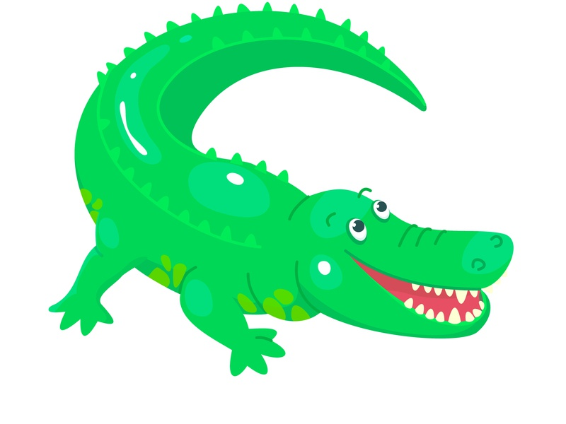 Crocodile game flat animal kids child cute design illustration cartoon vector character crocodile