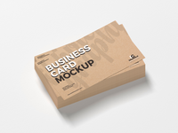 Free Stack of Kraft Business Cards Mockup PSD