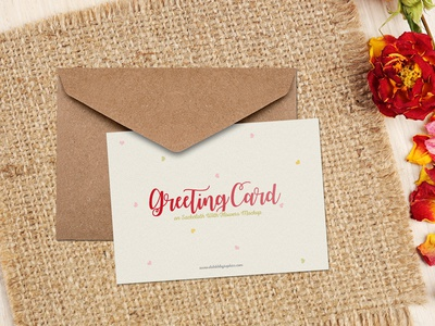 Free Greeting Card on Sackcloth With Flowers Mockup PSD