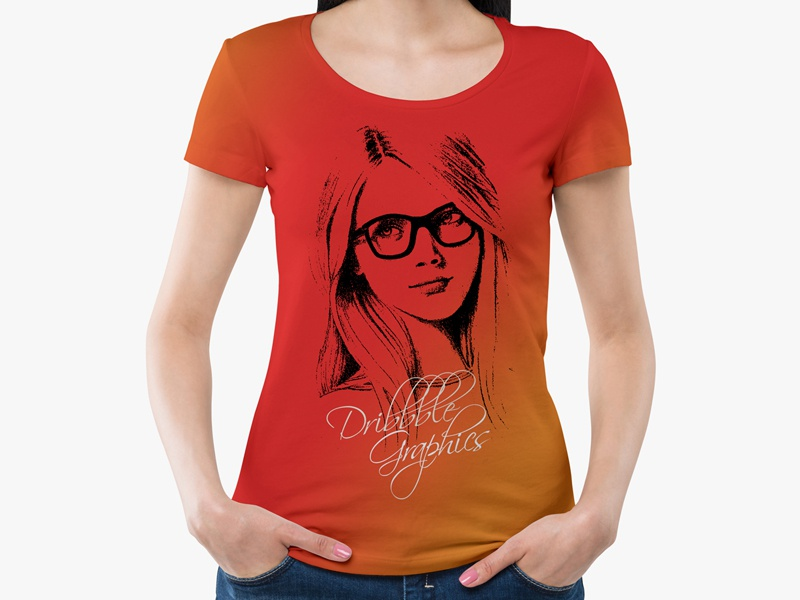 Free girl wearing round neck t shirt mockup