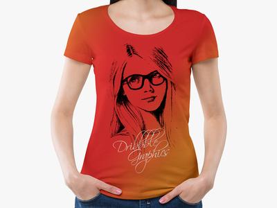 Free Girl Wearing Round Neck T-Shirt Mockup
