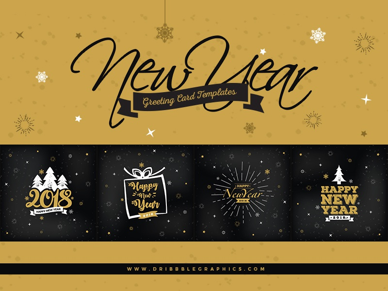 4 Free New Year Greeting Card Templates Cards Vectors Ai Freebie
