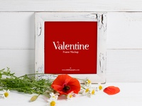 Free Valentine Red Poppies With Frame Mockup 2018