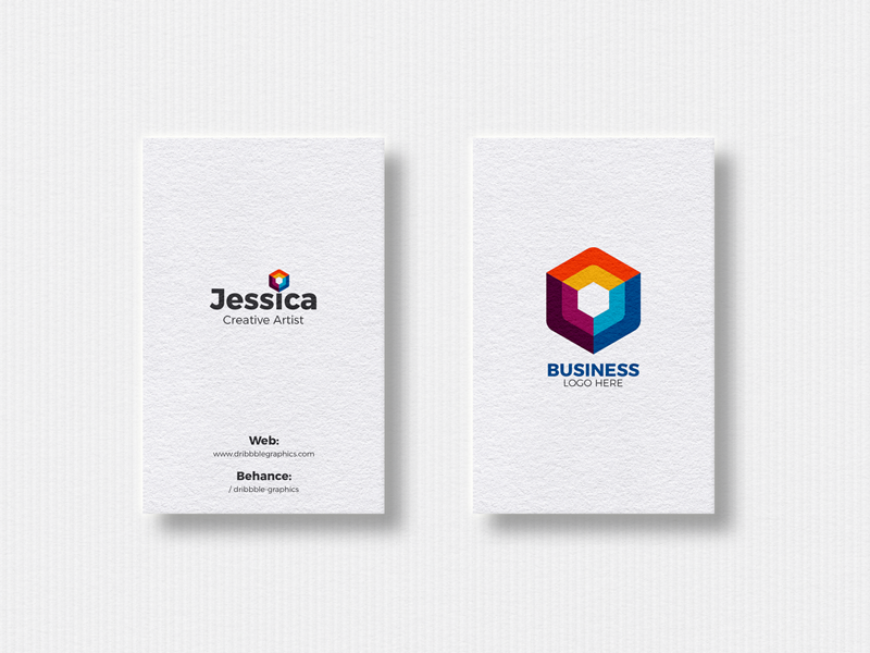Free 2 vertical business cards mockup 2018