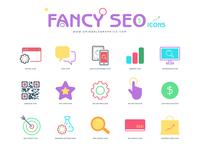 25 Free Flat Fancy Seo Icons 2018