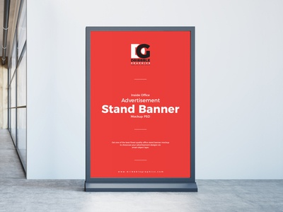 Free Inside Office Advertisement Stand Banner Mockup PSD