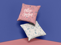 Free Brand Square Pillow Mockup Design PSD