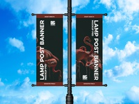 Free Lamp Post Banner Mockup PSD