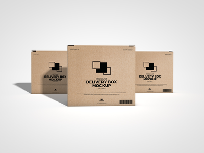 Free Product Delivery Box Mockup For Cargo