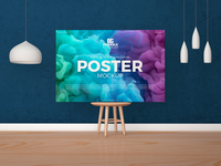 Free Horizontal Poster Canvas Mockup On Wooden Chair