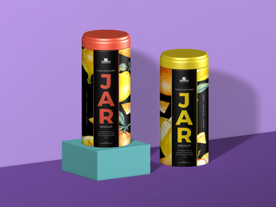 Free Food Container Jar Mockup For Packaging