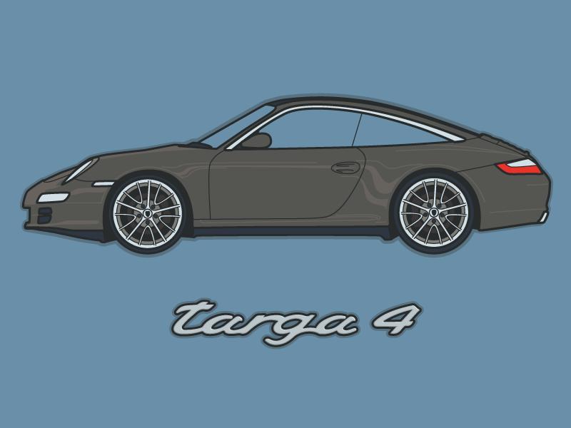 Car 20 – 2007 Porsche 911 Targa 4 adobe illustrator targa 4 rennsport mancave illustration targa 911 porsche