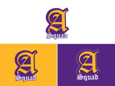 A Squad Logo purple vilot art alphabet logo letter yellow white app typogaphy vector branding logo gamer eventfolio hud ux ui cartoon team game
