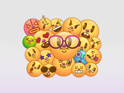 Retro emojis smileys funny cute face emoticon emoji emojis digital cartoon character design drawing illustration