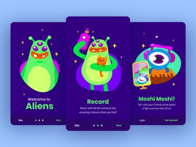 Illustrations for 'Alien App' Onboarding