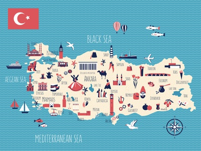 Cartoon travel map of Turkey food architecture sea drawing world geography travel turkish istambul cartoon map illustration turkey