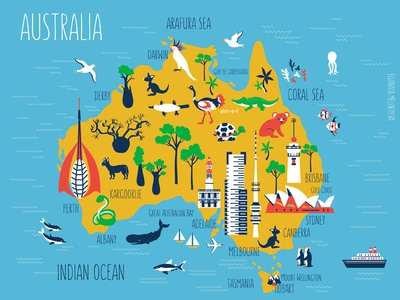 cartoon travel map of australia