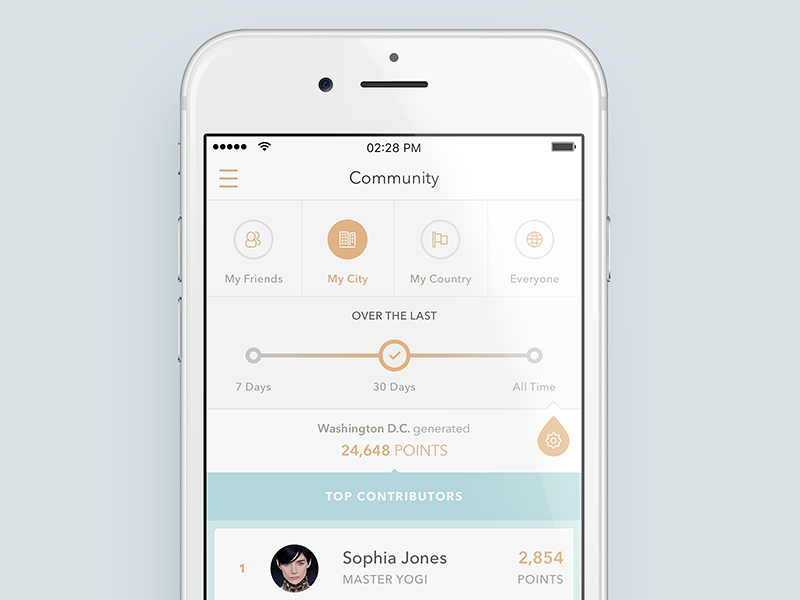 Yoga Community filter community gamification calm exercise health yoga ios clean minimal ui ux