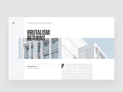 Architecture Blog Article Layout visual hierarchy design clean white minimal web design article architect architecture layout grid typography minimalist light ui website
