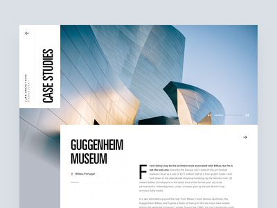 Architecture firm case study article layout editorial visual hierarchy design clean white minimal web design article architect architecture layout grid typography minimalist light ui website