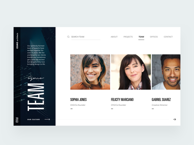 Team page architecture firm V2 about team editorial visual hierarchy design clean white minimal web design article architect architecture layout grid typography minimalist light ui website