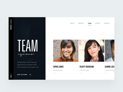 Team screen aboutus team editorial visual hierarchy design clean white minimal web design article architect architecture layout grid typography minimalist light ui website