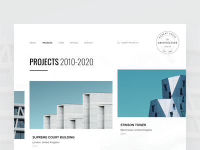 Architecture firm Projects screen work projects editorial visual hierarchy design clean white minimal web design article architect architecture layout grid typography minimalist light ui website