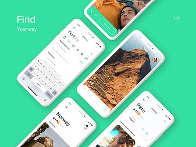 TripAdviser App adaptive promo green ui  ux search bar application trip travel app design design mobile minimal flat interaction