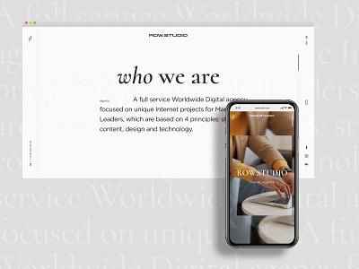 ROW.STUDIO grey typography typos colorful graphic design studio agency portfolio promo adaptive design mobile ui minimal flat interaction