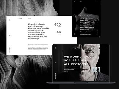 Zaha Hadid Architects concept adaptive fullscreen ipad ux animation flat typografy minimal grayscale concept ui interaction architecture