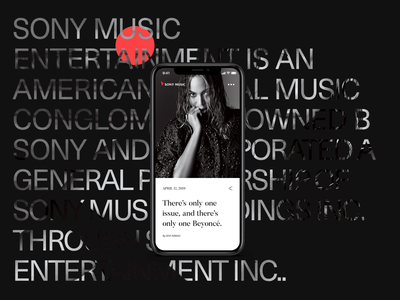 Shot flat mobile beyonce artist website typography music sony minimal ui interaction
