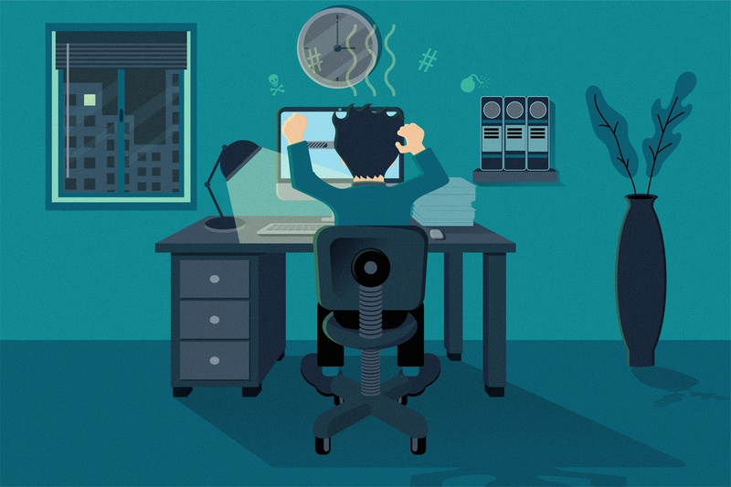 Working All Night Long tired computer crash freelancer working from home working late allnighter all night graphic deisgn flat design vector illustration adobe illustrator cc