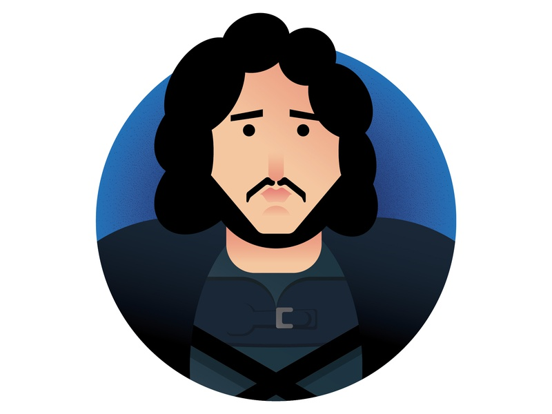 Winter is Here: Jon Snow (Game of Thrones Characters) winter is coming jon snow minimalist portrait minimalism winter is here game of thrones drawing challenge illustration a day icon a day icon design flat design illustration vector adobe illustrator cc