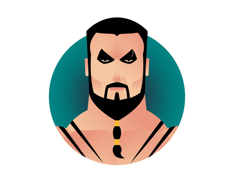 Khal Drogo: Winter is Here portrait winteriscoming minimalism game of thrones poster design icon a day icon flat design illustration vector adobe illustrator cc